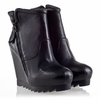 Ash Guido Womens Wedge  Boot Black Leather  330389 (001)