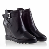 Ash Iona Womens Wedge  Boot Black Leather  330395 (001)