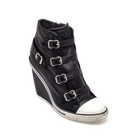 Ash Thelma Wedge Sneaker Black Leather 330149