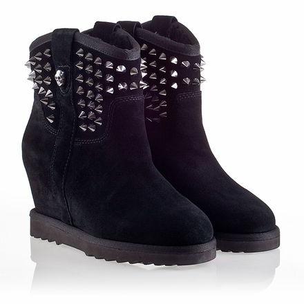 Ash Yahoo  Womens Wedge Spike Boot Black Suede 330290 (001)