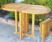 Teak Table Oval Drop Leaf