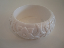 White Engraved Flower Bangle Bracelet