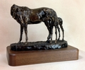 """Antique Bronze """"Peek-A-Boo"""" Mare and Foal Trophy Statue"""