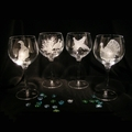 Evergreen Crystal Set of 4 Etched 18 oz Wine Glasses