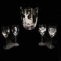 Evergreen Crystal Wine Cooler & 10 oz. Wine Set Of 4 Glasses
