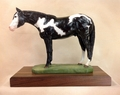 "Full Body Large Size ""Overo Paint Horse"" Statue On Walnut"