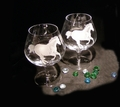 "Personalized Pair Of Crystal ""Brandy Snifters"""