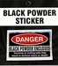 Warning Sticker Danger Black Powder