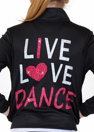 Girl's Rayon Live Love Dance Warm Up Black Jacket