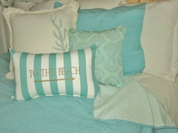 Aqua/Green Oblong Stripe To The Beach Pillow