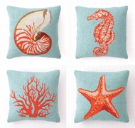 Blue and Coral Coastal  Hook Pillows