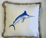 Blue Marlin Embroidered Pillow