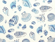 Blue Seashell Curtain Panel 53x84