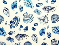 Blue Seashells Shower Curtain