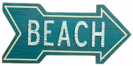 Blue  Wood Beach Arrow Sign
