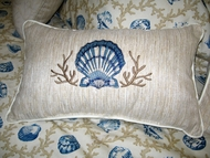 Embroidered Blue Seashell Pillow 12x18