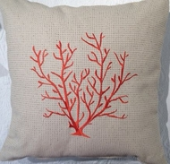 Embroidered Coral Pillow Corsica