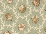 Hampton Sage  Print Seashell Curtain Panel
