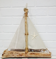 Linen Driftwood Sailboat