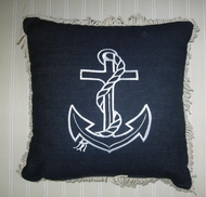 Nautical Blue Anchor Pillow