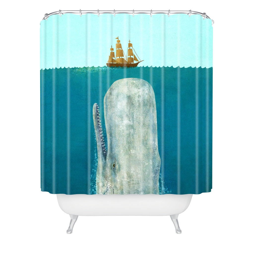 Item# nautical-blue-whale-shower-curtain