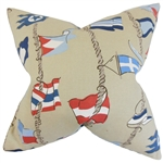 Nautical Pillow Taupe Flags