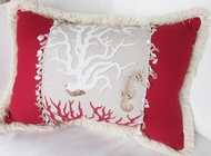 Oblong Mediterranean Red Coral Pillow