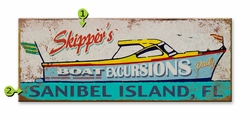 Personalized Boating Sign Skipper Excursions
