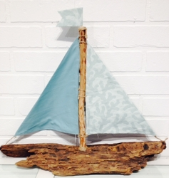 Seafoam Green Driftwood Sailboat