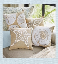 Seashell  Burlap Pillows