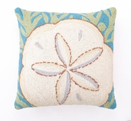 Seashell Pillow Sand Dollar and Seaweed