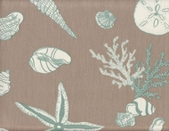 Seashell Print Valance Green Sea