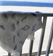 Seashell Throw Blanket Blue