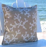 Tan White Sands Coral Pillow