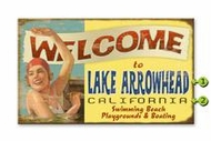 Vintage Lake Sign With Girl