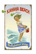 Vintage Sign Little Girl on the Shore