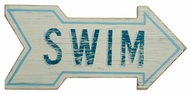 White wood Swim Arrow Sign