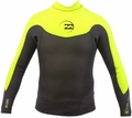 Billabong Foil Neoprene Jacket Men's Long Sleeve - Grey/Yellow