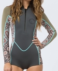 Billabong Salty Dayz Wetsuit Women's Long Sleeve Front Zip Springsuit-Off Black Multi
