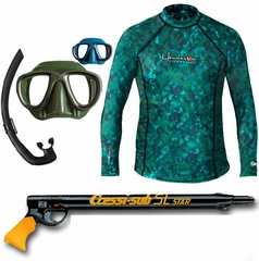 Henderson Camo Skin Rashguard Long Sleeve Spearfishing Combo Package