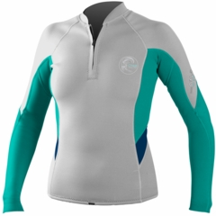 O'Neill Bahia Women's Front Zip Jacket 1mm Neoprene Grey/Teal