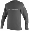 O'Neill Basic Skins Long Sleeve Rash Tee Men's Rashguard 50+ UV Protection - Grey