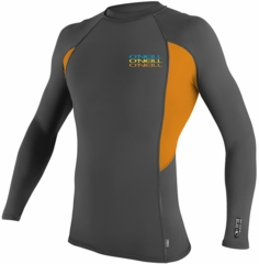 O'Neill Skins Graphic Long Sleeve Crew Men's Rashguard - Grey/Orange