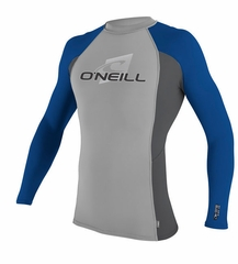 O'Neill Skins Long Sleeve Crew Rashguard 50+ UV Protection - Grey/Blue