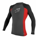O'Neill Skins Long Sleeve Crew Rashguard 50+ UV Protection - Grey/Red