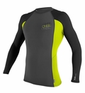 O'Neill Skins Long Sleeve Graphic Crew Rashguard 50+ UV Protection - Grey/Black/Lime