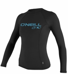 O'Neill Women's Long Sleeve Rashguard 50+ UV Protection Black
