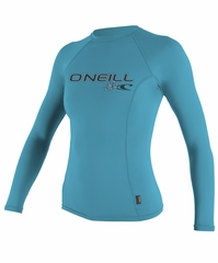 O'Neill Women's Long Sleeve Rashguard 50+ UV Protection - Turquoise