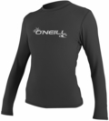 O'Neill Womens Basic Skins Long Sleeve Rash Tee Rashguard-Black