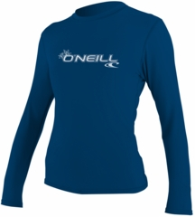 O'Neill Womens Basic Skins Long Sleeve Rash Tee Rashguard-Blue
